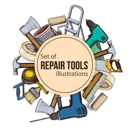 Set of building repair tools colorful sketch illustration of repair tool.