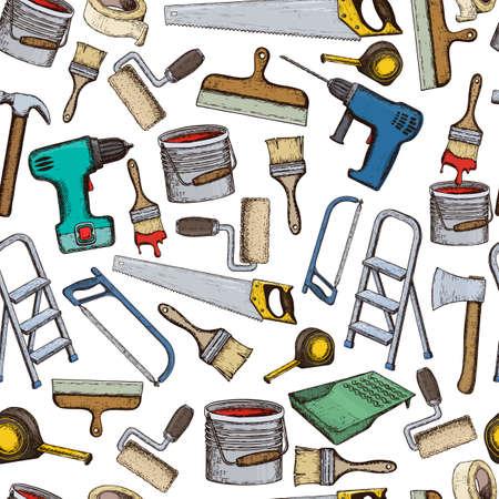 Set van reparatie tools voor gebouwen. Kleurrijke schetsillustratie van reparatiehulpmiddel. Vector Illustratie