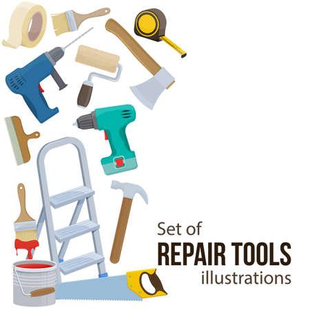 Set of building repair tools. Cartoon illustration of repair tools.