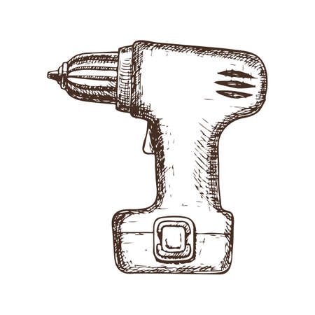 Electric screwdriver on white, cartoon illustration of the repair tool. Illustration