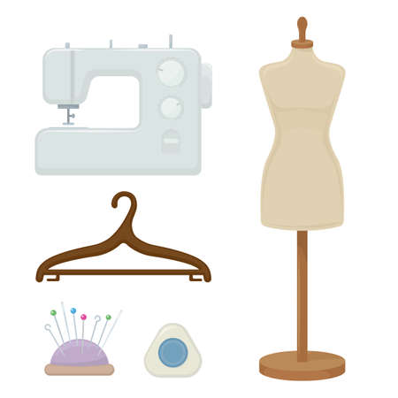 Female tailors dummy, sewing machine, hanger, cartoon illustration of tool for for sewing. Vector Vettoriali