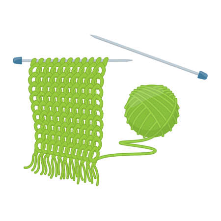 Tangle of yarn and knitting needles, cartoon illustration of accessories for handicrafts. Vector Illustration