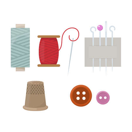 Threads, needles, thimble and buttons, cartoon illustration of accessories for sewing. Vector Ilustrace