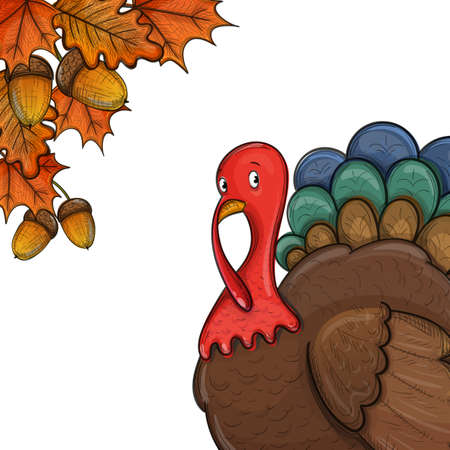 Colorful illustration of Thanksgiving day turkey, colorful sketch illustration. Vector