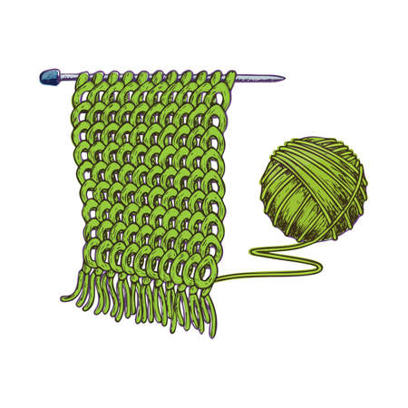 scratchy: Tangle of yarn and knitting needles, colorful sketch illustration of accessories for handicrafts. Vector