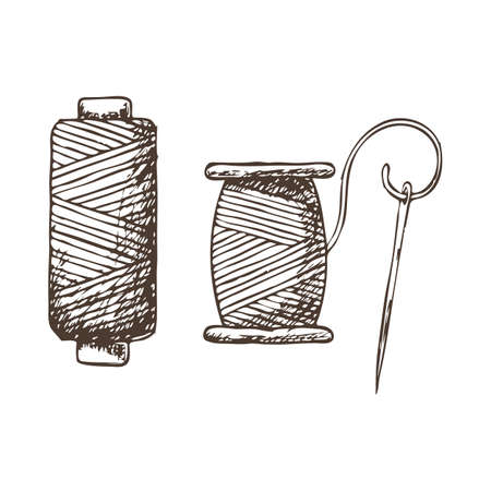Threads and needle, sketch illustration of accessories for sewing. Vector Vettoriali
