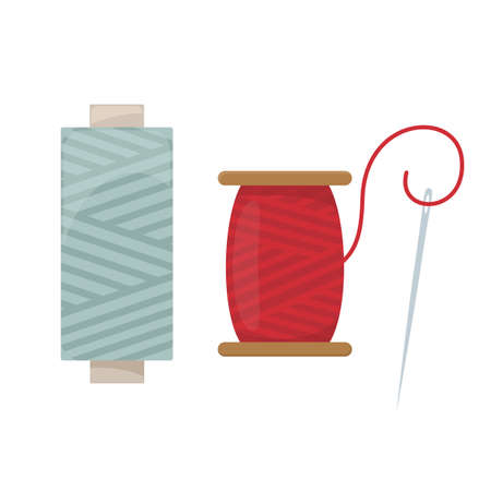 Threads and needle, cartoon illustration of accessories for sewing. Vector