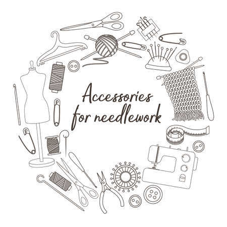 Set of tools for needlework and sewing. Handmade equipment and needlework accessoriesy, line cartoon illustration. Vector