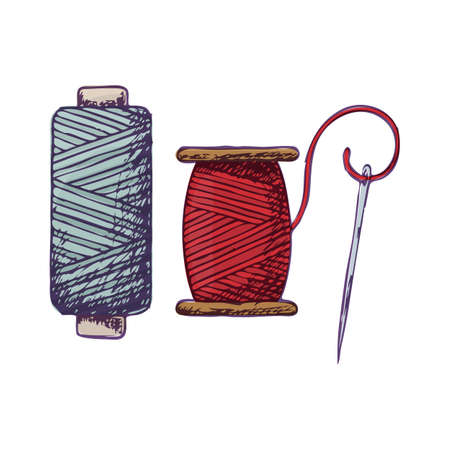 Threads and needle, colorful sketch illustration of accessories for sewing. Vector