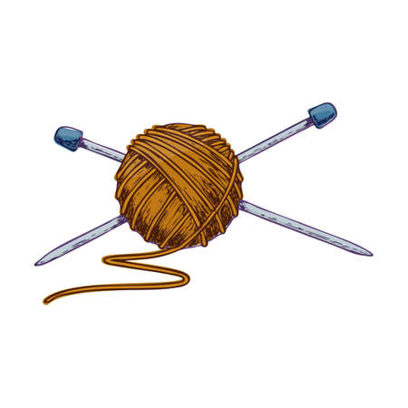 Tangle of yarn and knitting needles, colorful sketch illustration of accessories for handicrafts. Vector