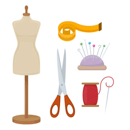 Female tailors dummy and accessories for sewing. Vector Illustration