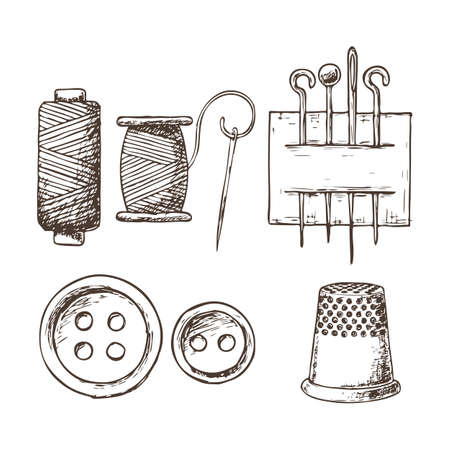 Threads, needles, thimble and buttons, sketch illustration of accessories for sewing. Vector Ilustrace