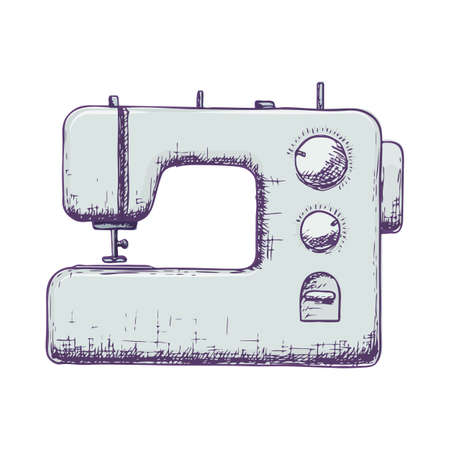 Sewing machine on white background, colorful sketch illustration of accessories for sewing. Vector