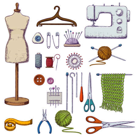 Set of tools for needlework and sewing. Handmade equipment and needlework accessoriesy, colorful sketch illustration. Vector Illustration