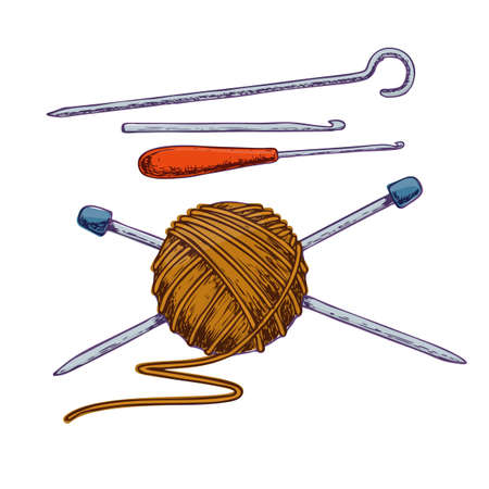Tangle of yarn and knitting needles, sketch illustration of accessories for handicrafts. Vector