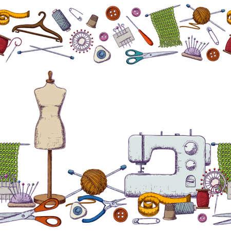 Nahtlose horizontale Grenzen von Werkzeugen für Handarbeit und Nähen. Handgemachte Ausrüstungs- und Näharbeit accessoriesy, bunte Skizzenillustration. Vektor Standard-Bild