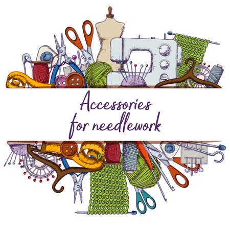 Set of tools for needlework and sewing. Handmade equipment and needlework accessories.