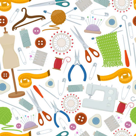 Seamless pattern of tools for needlework and sewing. Handmade equipment and needlework accessoriesy, cartoon illustration. Vector
