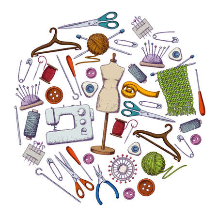 Set of tools for needlework and sewing. Handmade equipment and needlework accessoriesy, colorful sketch illustration. Vector Иллюстрация