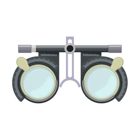 Eye optometry trial lens frame for eye vision test on white background, cartoon illustration of medical accessory for correct vision. Vector