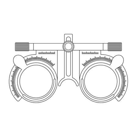 Eye optometry trial lens frame for eye vision test on white background, line cartoon illustration of medical accessory for correct vision. Vector