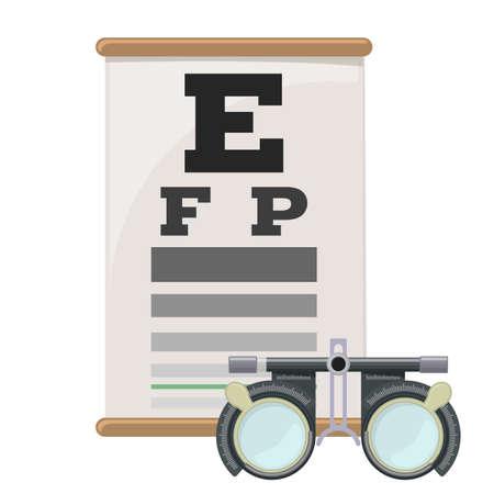 눈 검사 및 시험 렌즈 프레임, Snellen 안구 검사 차트의 시력이 약한 시력. 안경으로 시력 교정. 벡터.