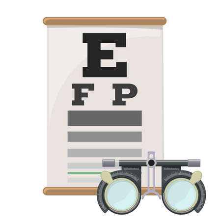 Teste de visão ocular e frame da lente julgamento, miopia deficiente visão diagnóstica no gráfico de teste de olho Snellen. Correção de visão com óculos. Vetor. Foto de archivo - 90275489