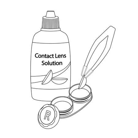 Contact lens in case and tweezer on white background, line cartoon illustration of medical accessory for correct vision. Vector