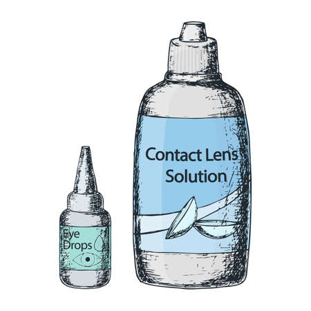 Contact lens solution and eye drops on white background, sketch cartoon illustration of medical accessory for correct vision. Vector Illustration