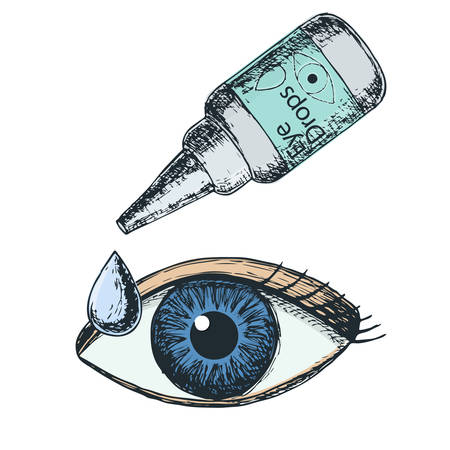 Eye drops on white background, sketch cartoon illustration of medical accessory for correct vision. Vector