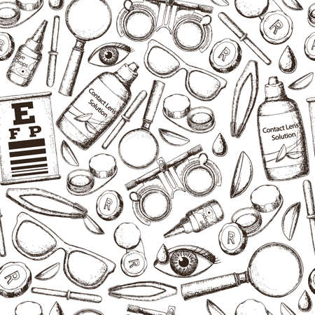 Seamless pattern of medical optometry accessory for correct vision - contact lens,  solution, lens case eye test chart, glasses. Vector Vectores