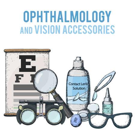 Ensemble d'accessoire d'optométrie médicale pour une vision correcte - lentilles de contact, solution, tableau de test oculaire de valise, lunettes. Vecteur