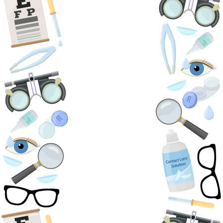 A Seamless vertical borders of medical optometry accessory for correct vision - contact lens, solution, lens case eye test chart, glasses. Vector Illustration
