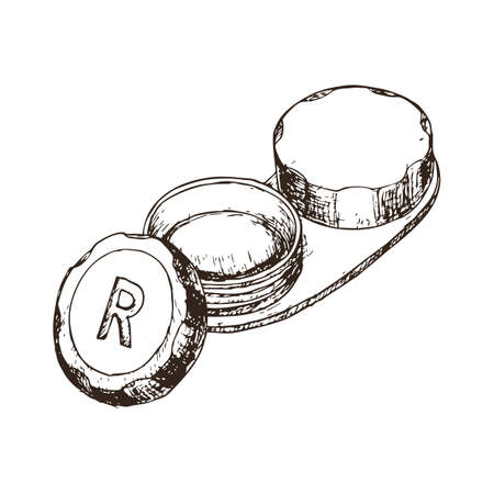 Contact lens case on white background, sketch cartoon illustration of medical accessory for correct vision. Vector Illustration