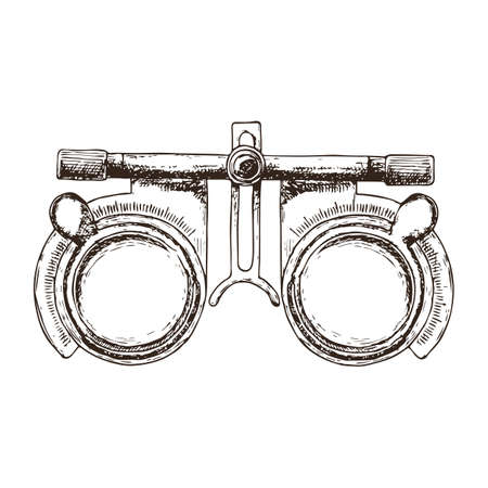 Eye optometry trial lens frame for eye vision test on white background