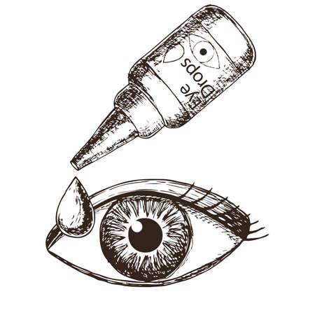 Eye drops on white background