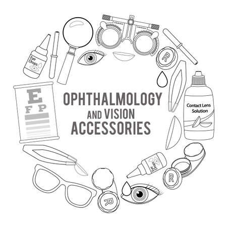 正しい視力のための医療用検眼アクセサリーのセット - コンタクトレンズ、ソリューション、レンズケース目のテストチャート、眼鏡。