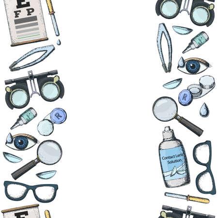 正しい視力のための医療検眼アクセサリーのシームレスな垂直境界線 - コンタクトレンズ、ソリューション、レンズケース目のテストチャート、眼