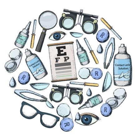 正しいビジョン - コンタクト レンズ、ソリューション、レンズ ケース目テストチャート、眼鏡の検眼医療アクセサリーのセットです。  イラスト・ベクター素材