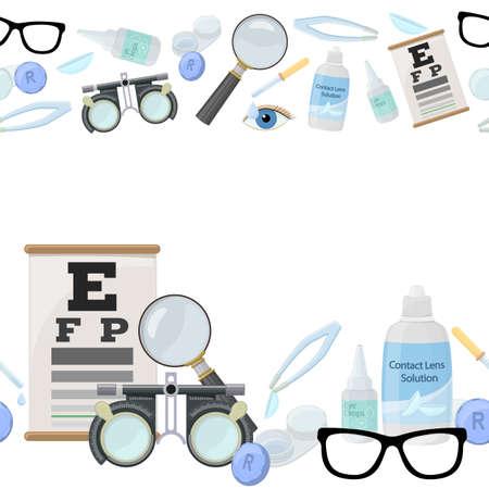 正しい視力のための医療検眼アクセサリーのシームレスな水平境界線 - コンタクトレンズ、ソリューション、レンズケース目のテストチャート、眼