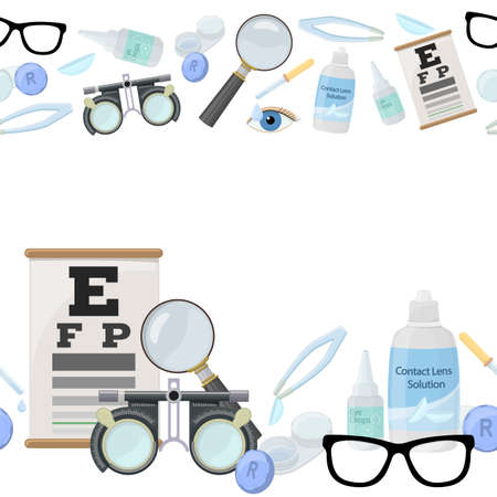 Seamless horizontal borders of medical optometry accessory for correct vision - contact lens, solution, lens case eye test chart, glasses.