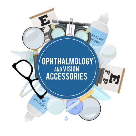 Set of medical optometry accessory for correct vision - contact lens, solution, lens case eye test chart, glasses.