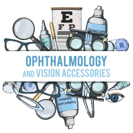 올바른 비전 - 콘택트 렌즈, 솔루션, 렌즈 케이스에 대 한 의료 검안 액세서리의 집합 눈 테스트 차트, 안경입니다. 벡터