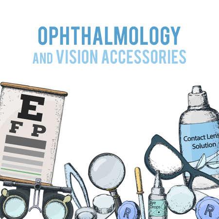 正しい視力のための医療用検眼アクセサリーのセット - コンタクトレンズ、ソリューション、レンズケース目のテストチャート、眼鏡。ベクトル
