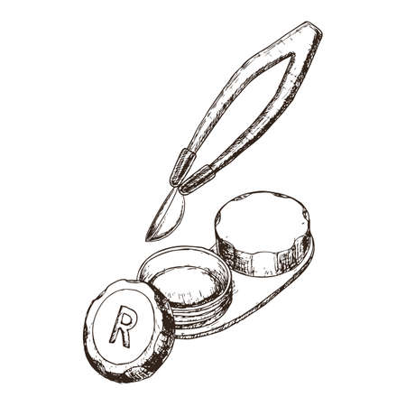 Contact lens in case and tweezer on white background, sketch cartoon illustration of medical accessory for correct vision. Vector