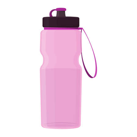 Fitness water bottle, cartoon illustration of gym equipment for home exercise. Vector