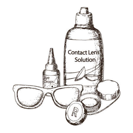 Contact lens solution, lens case and eye glasses on white background, sketch cartoon illustration of medical accessory for correct vision. Vector