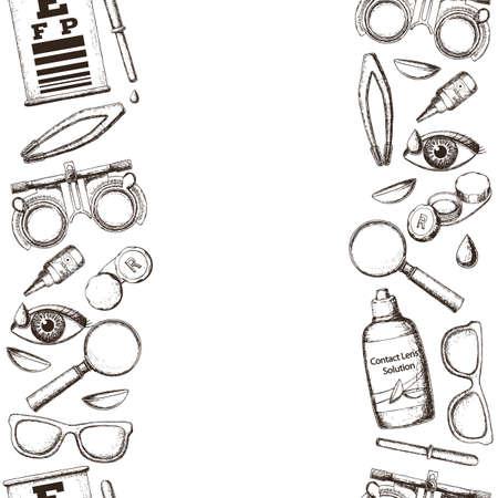 正しいビジョン - コンタクト レンズ、ソリューション、医療検眼アクセサリーのシームレスな垂直方向の罫線は、ケース目テストチャート、眼鏡レ  イラスト・ベクター素材
