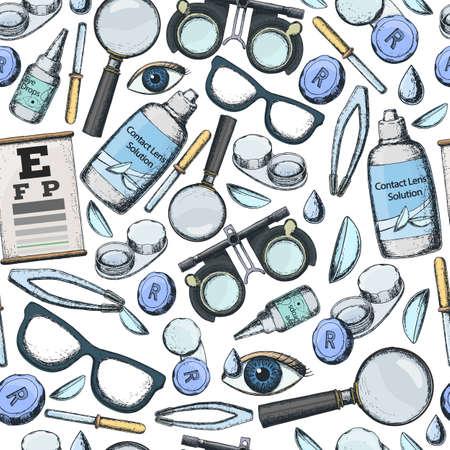 正しいビジョン - コンタクト レンズ、ソリューション、レンズ ケース目テストチャート、眼鏡の検眼医療アクセサリーのシームレスなパターン。ベ