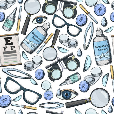 Seamless pattern of medical optometry accessory for correct vision - contact lens,  solution, lens case eye test chart, glasses. Vector Illustration